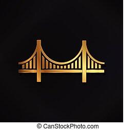 złoty, francisco, san, most, wizerunek, wektor, logo