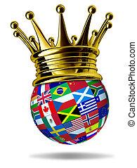 złoty, globalny, korona, bandery, światowy lider