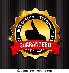 złoty, guaranteed, najlepszy, etykieta, wektor, czerwony, illust, jakość, wstążka
