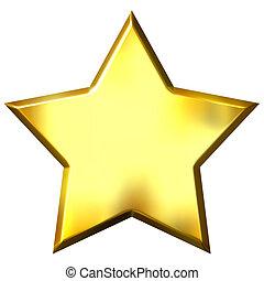 złoty, gwiazda, 3d