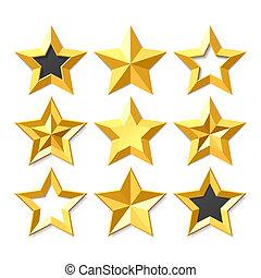 złoty, gwiazdy, komplet