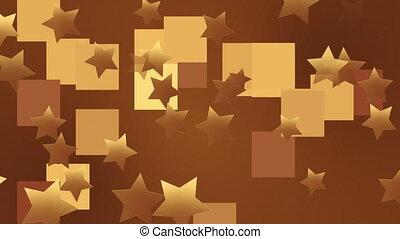 złoty, gwiazdy, na, brązowy