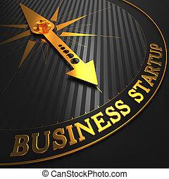 złoty, handlowy, startup, -, needle., busola