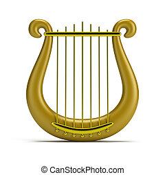 złoty, harfa