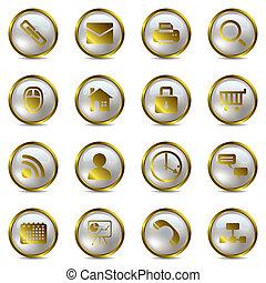 złoty, ikony, komplet