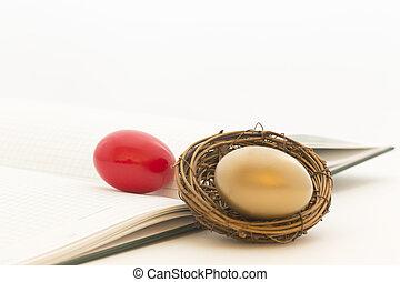 złoty, jaja, czerwony, gniazdo, księga główna