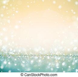 złoty, jarzący się, defocused, tło, święto, boże narodzenie