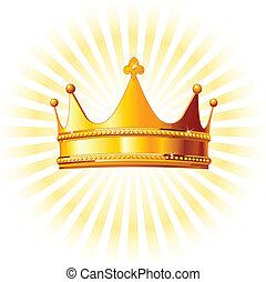 złoty, jarzący się, korona, backgroun