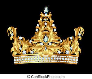 złoty, kamienie, korona, królewski