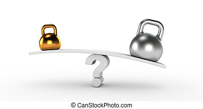 złoty, kettlebells, srebro, równowaga, dwa
