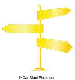 złoty, kierunek, drogowe oznakowanie
