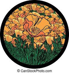 złoty, koło, pole, mak kalifornii