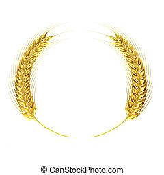 złoty, koło, pszenica
