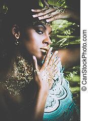 złoty, kobieta, piękno, makijaż, młody, czarnoskóry, portret