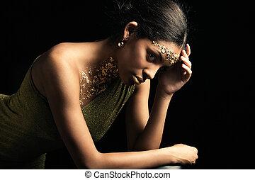 złoty, kobieta, piękno, makijaż, młody, czarnoskóry, portret, strój