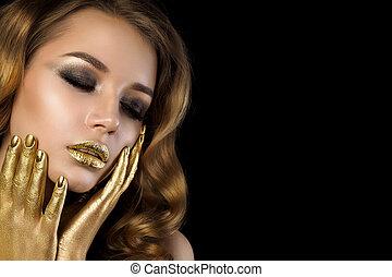złoty, kobieta, piękno, makijaż, młody, portret