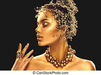 złoty, kobieta, skin., piękno, fason modelują, dziewczyna, z, złoty, makijaż, włosy, i, biżuteria, na, czarne tło