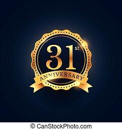 złoty, kolor, rocznica, etykieta, 31, odznaka, celebrowanie
