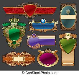 złoty, komplet, etykieta, wektor, luksus, ułożony