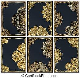 złoty, komplet, illustration., pakowanie, wektor, luksus, style.