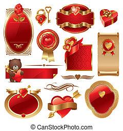 złoty, komplet, &, list miłosny, wektor, luksus, ozdobny, układa, serca