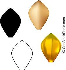 złoty, komplet, próbka, metal, płatek kwiatu