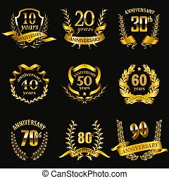 złoty, komplet, rocznica, symbole