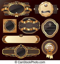 złoty, komplet, wektor, luksus, ozdobny, układa