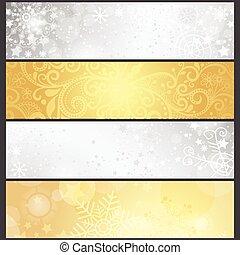 złoty, komplet, zima, nachylenie, srebrzysty, chorągwie