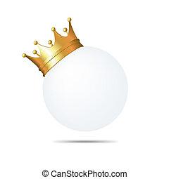 złoty korona, na białym, czysty, karta