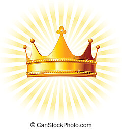 złoty korona, na, jarzący się, backgroun