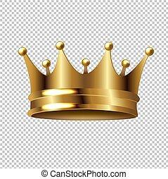 złoty korona, odizolowany, przeźroczysty, tło
