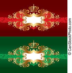 złoty korona, wektor, luksus, ozdobny, układa