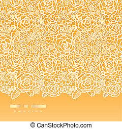 złoty, koronka, próbka, seamless, róże, tło, poziomy