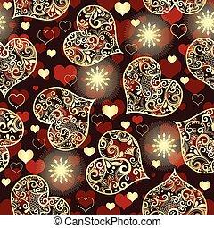 złoty, koronka serce, purpurowy, próbka, seamless, valentine