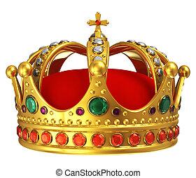 złoty, królewska korona