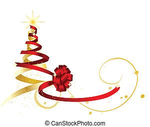złoty, kształt, drzewo., wstążka, zarzutka, boże narodzenie, czerwony