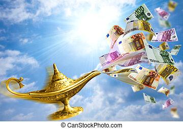złoty, lampa, pieniądze