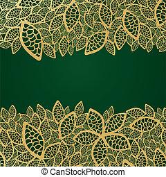 złoty, liść, zielony, koronka