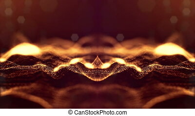 złoty, looped, abstrakcyjny, 60, rok, kształt, iskry,...