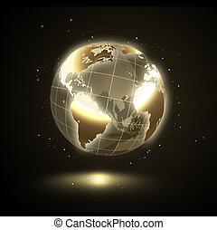 złoty, lustrzany, świat