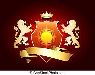 złoty, lwy, herb, marynarka