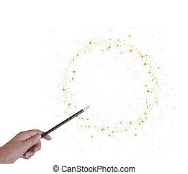 złoty, magia wand, ręka, albo, stardust, white., gwiazdy, isoated, ring, koło
