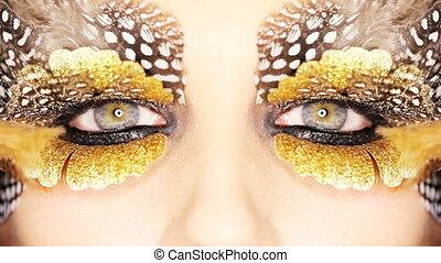 złoty, makijaż, oko, twórczy
