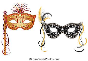 złoty, -, maski, karnawał, srebro