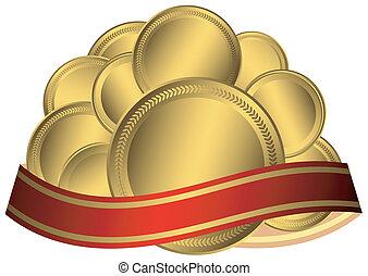 złoty, medals, wstążka