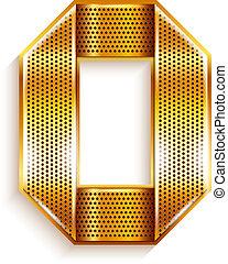 złoty, metal, -, liczba, 0, zero, wstążka