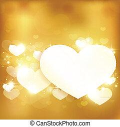 złoty, miłość, tło, serce, światła, jarzący się, gwiazdy