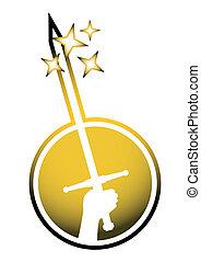 złoty, miecz