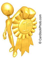 złoty, miejsce, wstążka, nagroda, 1